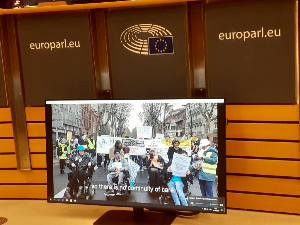 Vidéo d'Odile pour Handi-Social diffusée au Parlement européen