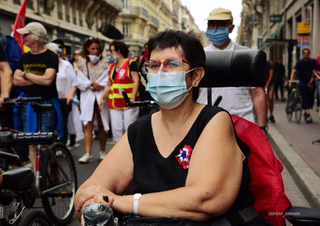 Odile Maurin lors d'une manifestation en juillet 2020