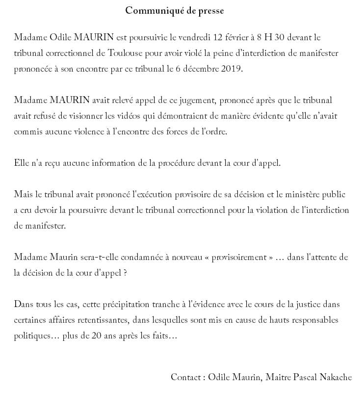 communiqué de presse de Me Pascal Nakache et Odile Maurin sur le procès correctionnel du 12 février 2021